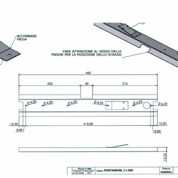 disegno tecnico supporto metallico